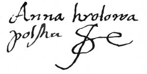 Autograph_of_Anna_Jagielonka/ źródło: Wikipedia