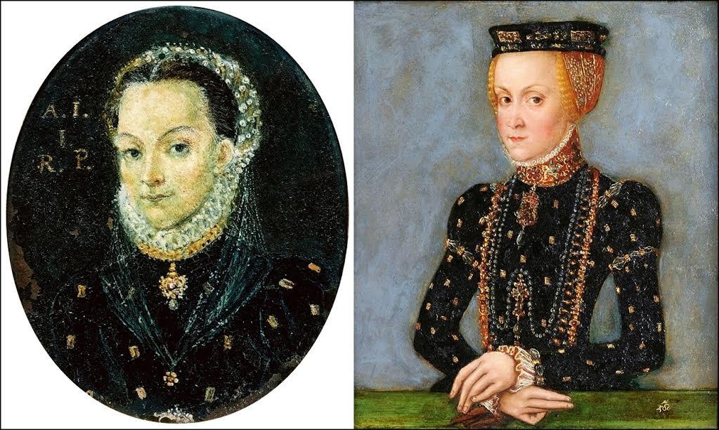 Miniatury Anny Jagiellonki z 1576 i 1555 r/ źródło: Wikipedia