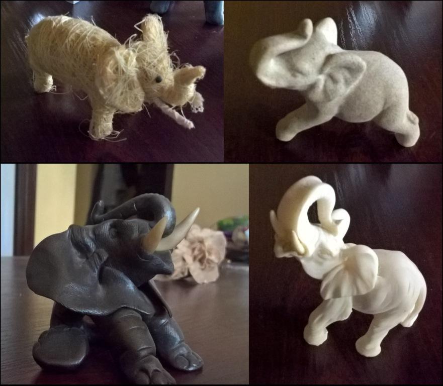 Słonie ze słomy, piasku, modeliny, alabastru wyglądają jak żywe