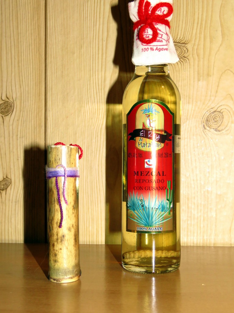mezcal z robakiem i tradycyjny kieliszek do mezcalu